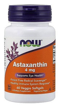 Astaxanthin Astaxantina 4 mg 60 Veggie Softgels NOW Foods