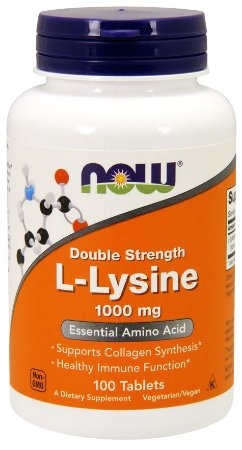 L Lysine Double Strength 1000 mg 100 Tablets NOW Foods