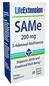 SAMe S-Adenosyl-Methionine 200 mg 30 enteric coated tablets LIFE Extension FRETE GRATIS