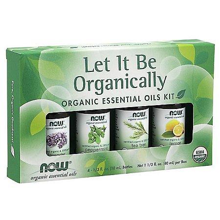 kit de Óleos Essenciais  Let It Be Organically Organic 40ml NOW Foods FRETE GRATIS