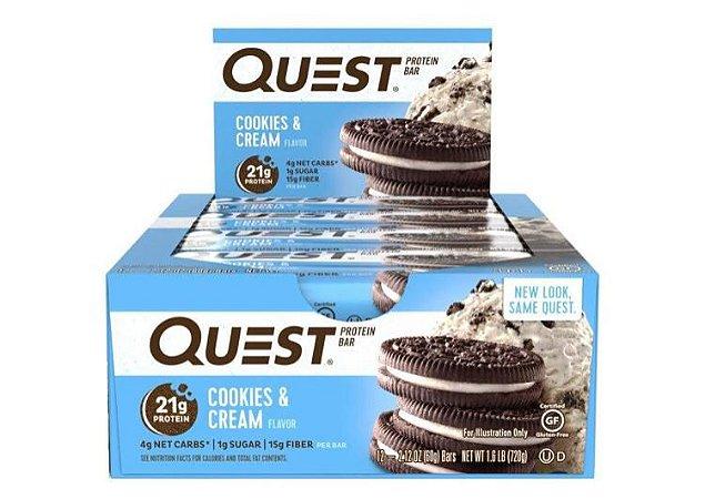 Quest Bar cookies and cream Caixa com 12 Unidades FRETE GRATIS