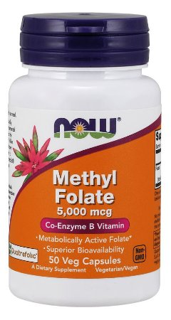 Methyl Folate 5000 mcg 50 Veg Capsules NOW Foods