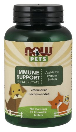 Immune Support  for Dogs & Cats  para cães e gatos 90 Chewables tabs NOW Pets