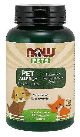 Pet Allergy for Dogs e Cats para cães e gatos 75 Chewable Tablets NOW Pets