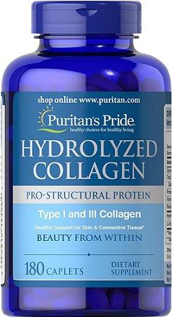 Colageno hidrolizado 1000 mg 180 caplets PURITANS Pride VENCIMENTO 03/2020