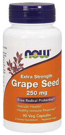 Grape Seed semente de uva Extra Strength 250 mg 90 Veg Capsules NOW Foods