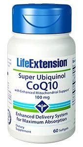 Super Ubiquinol CoQ10 com suporte mitocondrial 100mg 60 softgels LIFE Extension