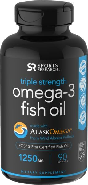 Omega 3 óleo de peixe Fish Oil 1250mg 90 softgels SPORTS Research