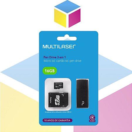 Adaptador 3x1 Multilaser SD + Pen drive + Cartão De Memória Classe 10 16GB Preto | MC112 |