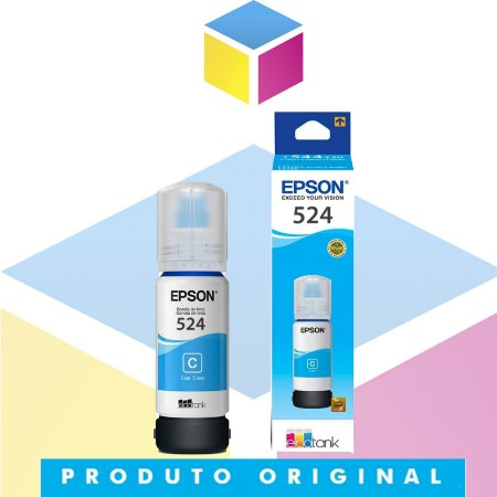 Tinta Epson 524 T 524 Ciano | T 524220 AL T 524220 | L 6580 L 15150  L 15160 | Original 70ml