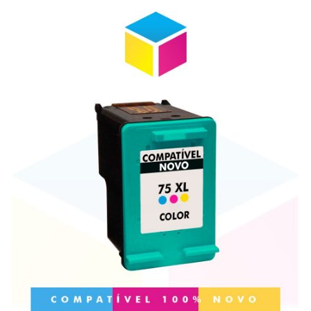 Cartucho de Tinta Compatível com HP 75 XL 75 CB 338 WB Color | J 5780 C 4280 C 4480 D 4260 C 5280 | 14ml
