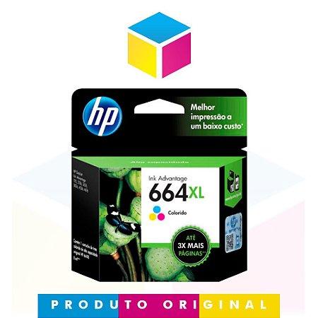 Cartucho de Tinta HP 664 XL 664 Colorido F 6 V 30 AB F 6 V 30 A | 1115 2136 3636 3836 3536 4676 | Original 8ml