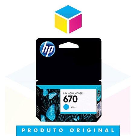 Cartucho de Tinta HP 670 CZ 114 AB Ciano | Original HP | 3,5 ml