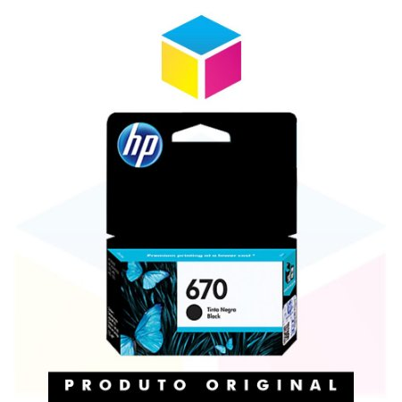 Cartucho de Tinta HP 670 CZ 113 AB Preto | Original HP | 7,5 ml