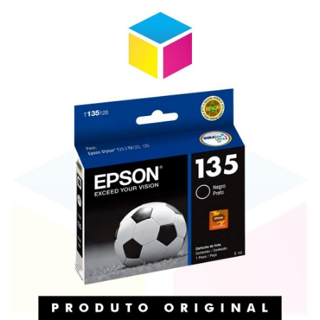 Cartucho de Tinta Epson T 135 Preto | T 25 TX 125 TX 123 TX133 TX 135 Original | 5ml