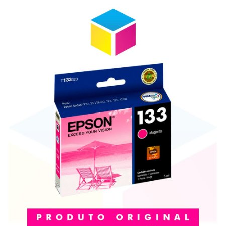 Cartucho de Tinta Epson Original 133 T 133 T 1333 Magenta | T 25 TX 125 TX 420 W TX 123 TX 320 F | 5ml