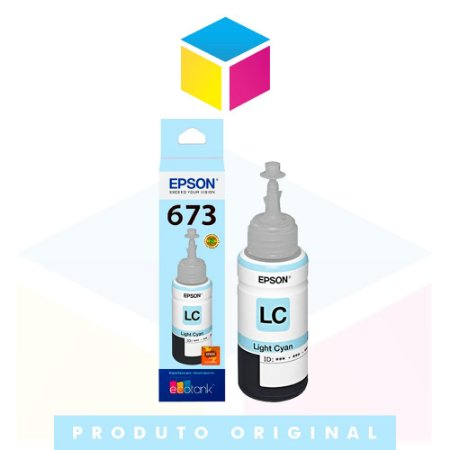Tinta Epson 673 T 673 T 673520 Ciano Claro (light) | L 800 L 805 L 810 L 1800 | Original 70ml