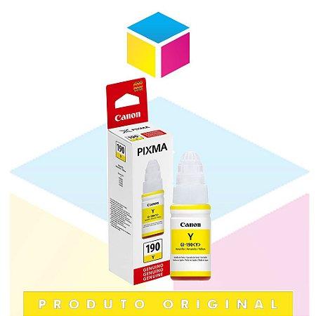 Tinta Canon GI-190 Y Amarelo Yellow | Tanque de Tinta Pixma Maxx G 1100 G 2100 G 3100 G 3102 | Original 70ml