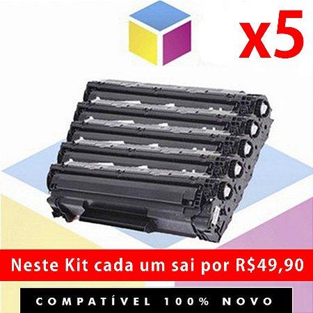 Kit com 5 Toner Compatível HP CF 283 A 83 A Preto | M 127 FN M 127 FW M 127 M 125 M 201 M 225 M 226 M 202 | 1.5K