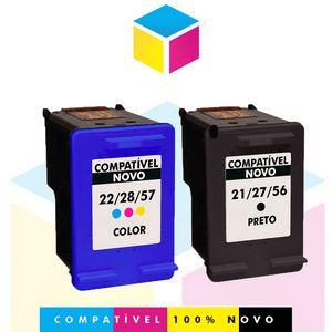 Kit HP 21 PRETO Compatível 19 ml + HP 22  COLORIDO Compatível 14 ml | C9351AB C9351AL C9351A C9351CB | C9352AB C9352AL C9352A C9352CB