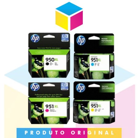 Kit Cartucho HP 950 xl Preto 53 ml + HP 951 xl Ciano 17 ml + HP 951 xl Magenta 17 ml + HP 951 xl Amarelo 17 ml | Officejet 8610 8620 8100 8600 Plus 8630 | Original