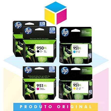 Kit 2 Cartucho HP 950 xl Preto 53 ml + 1 HP 951 xl Ciano 17 ml + 1 HP 951 xl Magenta 17 ml + 1 HP 951 xl Amarelo 17 ml | Officejet 8610 8620 8100 8600 Plus 8630 950 951 | Original