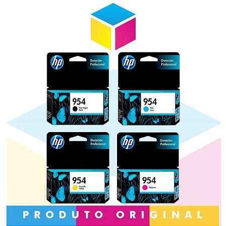 Kit HP 954 Preto 23,5 ml + HP 954 Ciano 10 ml + HP 954 Magenta 10 ml + HP 954 Amarelo 10 ml | 8710 8715 8720 8725 8210 8740 P27724DW | Original