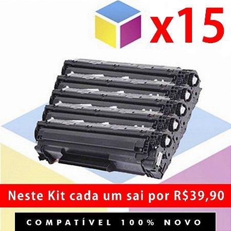 Kit com 15 Toner COMPATÍVEL HP CE 285 A 85 A 285 A CE 285 AB | P 1102 P 1102 W M 1132 M 1210 M 1212 M 1130 | 1.8k