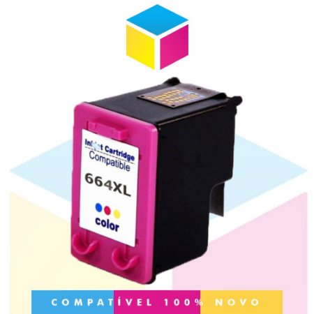 Cartucho HP 664 XL Colorido Compatível | Deskjet 1115 2136 3636 3836 3536 4676 | 12ml