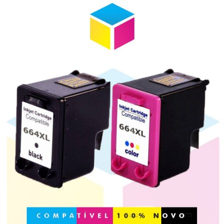 Kit HP 664 XL Preto Compatível 12ml + HP 664 XL Colorido Compatível 12ml | Deskjet 1115 2136 3636 3836 3536 4676