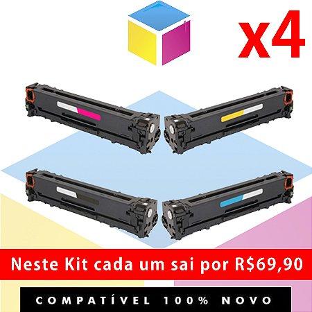 Kit Toner Compatível HP CE 320 A Preto + HP CE 321 A Ciano + HP CE 322 A Amarelo + HP CE 323 A Magenta | CM 1415 CM 1415 FN CM 1415 FNW CP 1525 CP 1525 NW