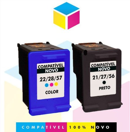 Kit HP 27 PRETO Compatível 19 ml + HP 28 COLORIDO Compatível 12 ml | C 8728 AB C 8728 AL C 8727 AB C 8727 AL