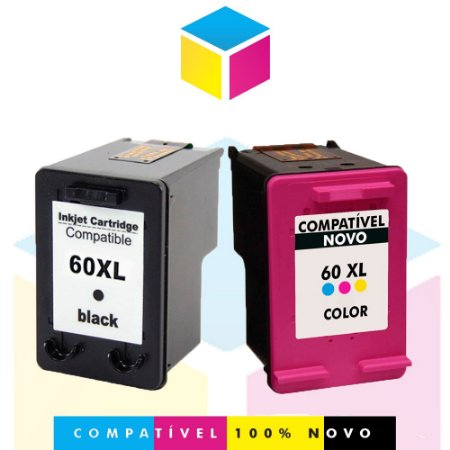 Kit HP  60 PRETO Compatível 13 ml + HP 60 COLORIDO Compatível 13 ml |CC 641 WB  C 4680 CC 644 WB  F 4480