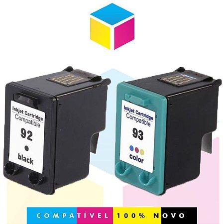 Kit HP 92 PRETO Compatível 14 ml + HP 93 COLORIDO Compatível 14 ml | C9362WB C9361WB | D4100 6210 2570 PSC-1507