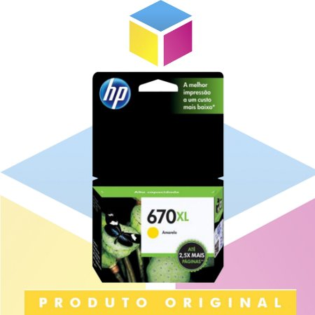 Cartucho De Tinta HP 670 XL CZ120AB Amarelo Yellow | Original HP | 9 ML