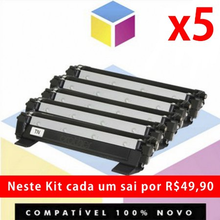 Kit com 5 Toner Compatível Brother TN 1060 Preto | DCP 1602 DCP 1512 DCP 1617 NW HL 1112 HL 1202 HL 1212 W  TN 1000 | 1K