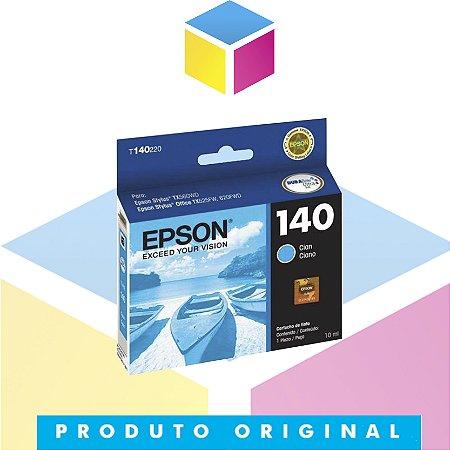 Cartucho de Tinta Epson 140 T140 T140220 T1402 Ciano Original | TX560WD T42WD TX620FWD | 10 ml