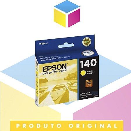 Cartucho de Tinta Epson 140 T140420 T140 T1404 Amarelo   TX620FWD TX560WD T42WD   Original 10 ml