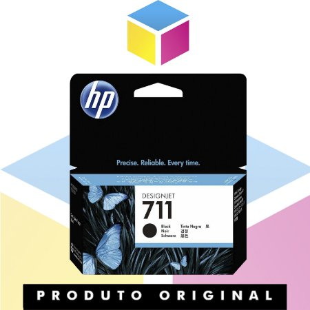 Cartucho de Tinta HP 711 Preto CZ 129 AB Original | Plotter T120 T520 T130 CQ891A CQ890A CQ893A | 38 ml