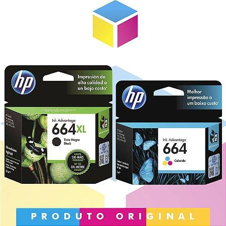 Kit HP 664 XL Preto Original 8.5 ml + Cartucho HP 664 Colorido Original 2 ml | Hp Deskjet 1115 4536 2136 3636 3836 3536 4676