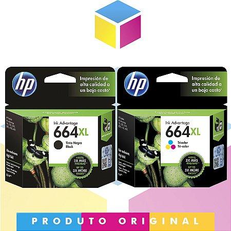 Kit HP 664 XL Preto Original 8.5 ml + Cartucho HP 664 XL Colorido Original 8 ml | Hp Deskjet 1115 4536 2136 3636 3836 3536 4676