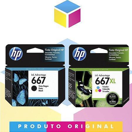 Kit HP 667 Original Preto 2 ml + HP 667XL  Original Colorido 8.5 ml | 3YM79AL HP 2376 HP 2775