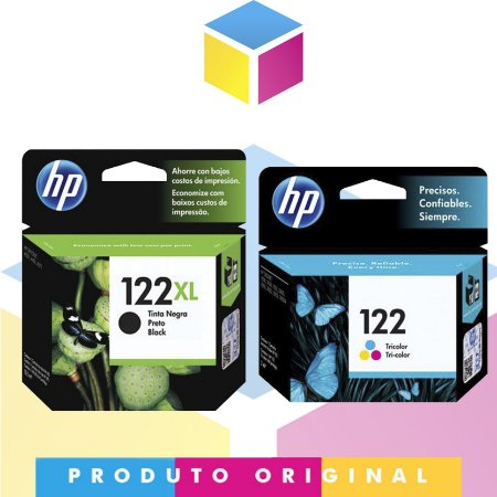 Kit HP 122 XL Original Preto 8 ml + HP 122 Original Colorido 2 ml |  CH563HB B 122