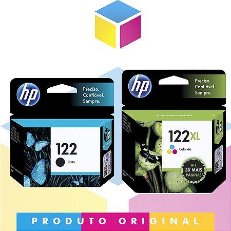 Kit HP 122 Original Preto 2 ml + HP 122 XL Original Colorido 7.5 ml |  HP 122 CH 561 HB