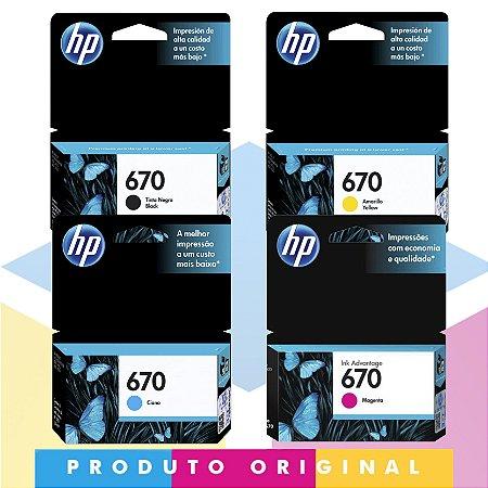 Kit HP 670 Original Preto 7,5 ml + HP 670 Original Ciano 3,5 ml + HP 670 Original Magenta 4 ml + HP 670 Original Amarelo 3,5 ml