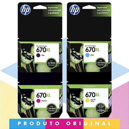 Kit HP 670 XL Original Preto 14 ml + HP 670 XL Original Ciano 7,5 ml + HP 670 XL Original Magenta 8 ml + HP 670 XL Original Amarelo 9 ml