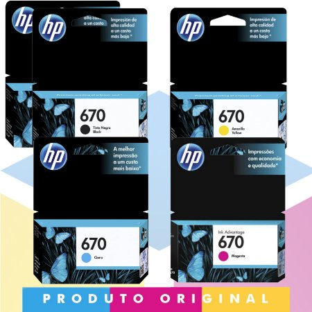 Kit 2x HP 670 Original Preto 7,5 ml + HP 670 Original Ciano 3,5 ml + HP 670 Original Magenta 4 ml + HP 670 Original Amarelo 3,5 ml