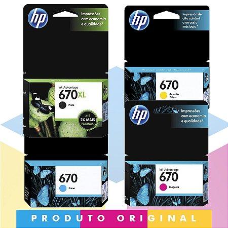 Kit HP 670 XL Original Preto 14 ml + HP 670 Original Ciano 3,5 ml + HP 670 Original Magenta 4 ml + HP 670 Original Amarelo 3,5 ml