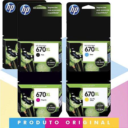 Kit 2x HP 670 XL Original Preto 14 ml + HP 670 XL Original Ciano 7,5 ml + HP 670 XL Original Magenta 8 ml + HP 670 XL Original Amarelo 9 ml