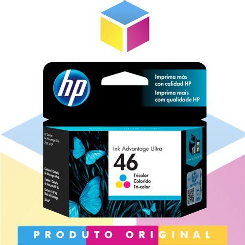 Cartucho de Tinta HP 46 CZ638AL CZ638AB Colorido Original | Deskjet Ink Advantage 2529 4729 5738 | 16ml